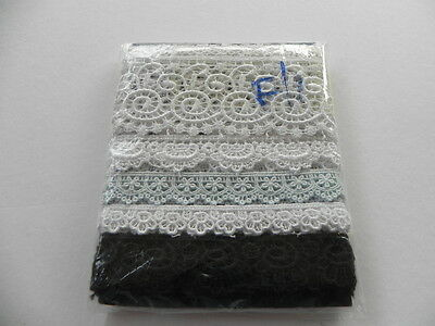 Pack 6 Beautiful New Guipure Laces - Various Colours F