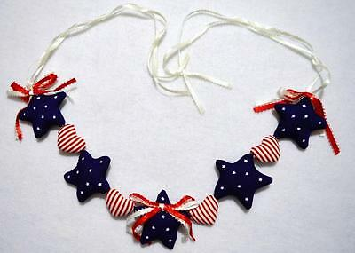 """Hand~Crafted  18"""" Patriotic Fabric Swag ~ 4Th Of July Decoration ~New"""