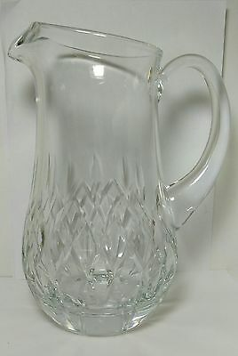 Gorgeous Block Cut Glass Lead Crystal Large Pitcher