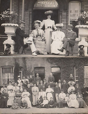 Margate Kent Mr Yatts Boarding Home in 1908 2x Antique Real Photo Postcard