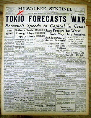 7 1941 December newspapers w THREATS of WAR  before JAPAN ATTACK ON PEARL HARBOR