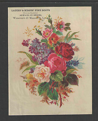 1880s WEBSTERS     LADIES & MISSES FINE BOOTS  LYNN MASS    VICTORIAN TRADE CARD