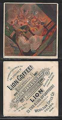 1880s LION COFFEE WOOLSON SPICE MERRY CHRISTMAS TOLEDO OHIO VICTORIAN TRADE CARD