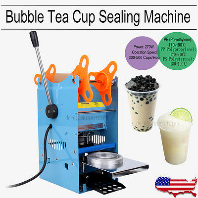 270W Commercial Manual Cup Sealing Machine Sealer 300-500 Cups/Hr Bubble Tea