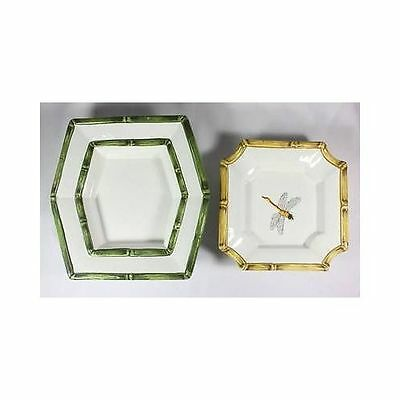 Pair BASSANO Italy Ceramic DRAGONFLY Hexagon Octagon Plates Dishes