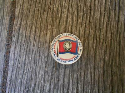 Vintage Serving the present age The Salvation Army tin badge youth