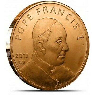 1 AVDP oz Pope Francis I copper round. Uncirculated coin .999
