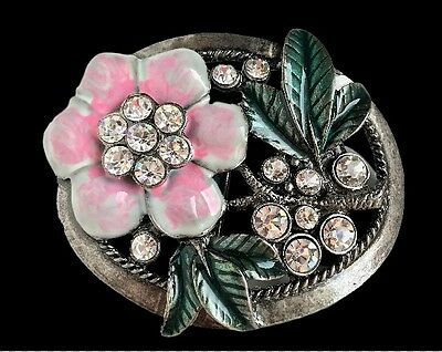 Rhinestone Flower Women Lady Western Belt Buckle Boucle De Ceinture
