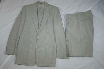 Vtg 50s 2 Pc Patch Pocket Wool Suit Hollyood Jacket & Pants VLV Drop Loop Rough