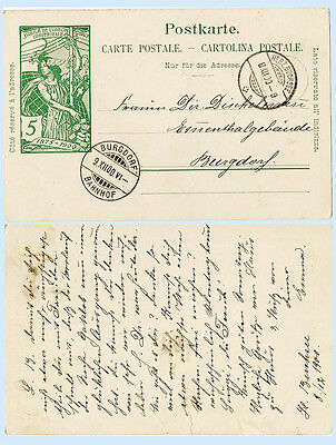 Switzerland 1900 UPU Postal Stationery Card H&G 31 Cover Herz.Buchsee - Burgdorf