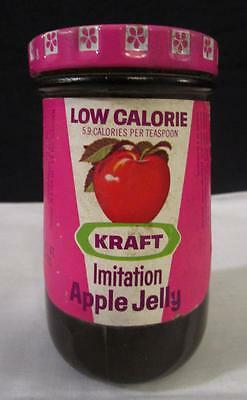 NOS 1970's VINTAGE KRAFT LOW CALORIE APPLE JELLY GLASS JAR METAL LID