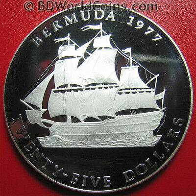 "BERMUDA 1977-RCM $25 PROOF 1.63oz SILVER SAILING SHIP ""PENNY"" RARE! 1,887 MINTED"