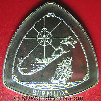 Bermuda 1996 Silver Proof $3 Map Compass Capsizing Ship Triangular Coin Box+Coa
