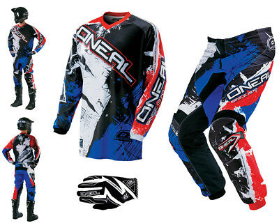 ONEAL Element Shocker blau rot Combo & Handschuhe Motocross Enduro