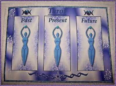Triple Goddess Tarot Card Mat Wiccan, Wicca, crystals divination, Pagan Fairy.