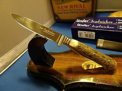 "8 1/2"" Linder Jagdnicker Classic Hunter 440A Stainless Stag Handle Scabbard"