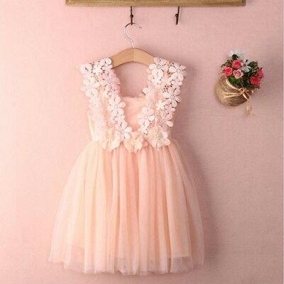 Baby Kids Clothes Party Birthday Flower Bow Pink Tulle Crochet Lace Girls Dress