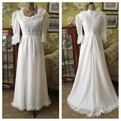 Vintage 70's Pronuptia Paris White Bohemian Lace Riffle Trim Wedding Dress 8