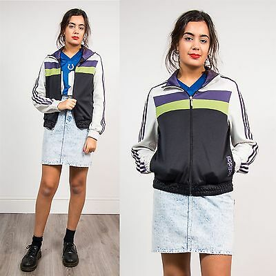 90's Vintage Womens Adidas Sports Tracksuit Jacket Striped Festival Wavey 10