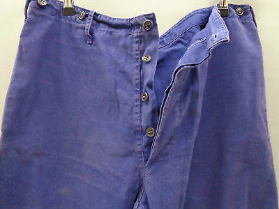 Vtg French indigo blue cotton work trousers worker chore pants