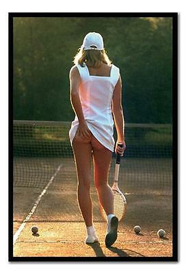 Classic Tennis Girl Large Magnetic Notice Memo Board Includes Magnets