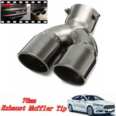 """76mm 3"""" Universal Car Stainless Twin Double Chrome Exhaust Pipe Muffler Tail Tip"""