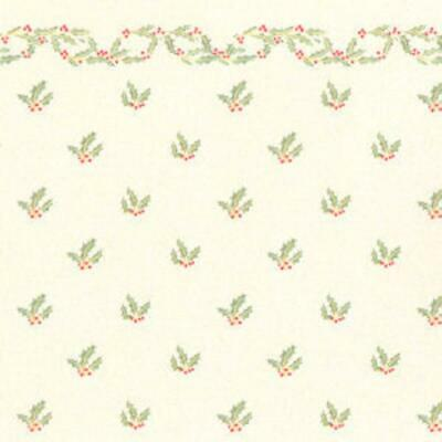 Dolls House Miniature Print 1:12 Scale Christmas Holly with Berries Wallpaper