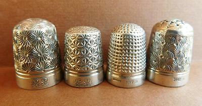 AUC6 4 Beautiful Antique English Sterling Silver Thimbles Dorcas Patent etc 34 G