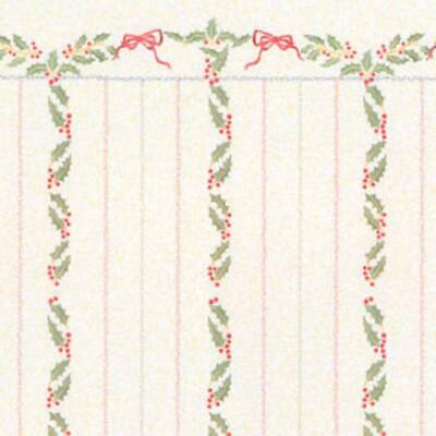 Dolls House Miniature Print 1:12 Scale Christmas Holly Berries Stripe Wallpaper