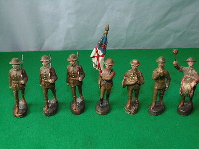 Vintage Elastolin  British Army Soldiers X7 Made In Germany