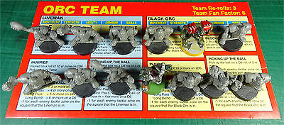 CITADEL - Bloodbowl - Plastic Orc Players & Team Card from Box Set - 1990s