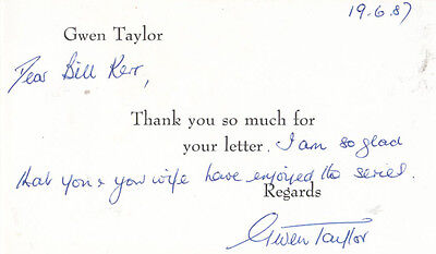 Gwen Taylor ITV Duty Free TV Show Hand Signed Card To Fan
