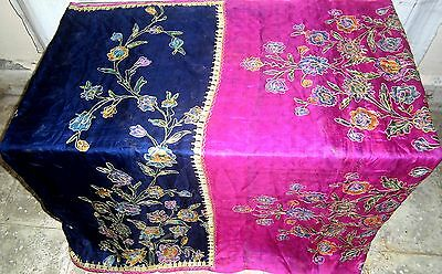 Pure silk Antique Vintage Sari INDIA CRAFT 4Y Ch16 6059 3s Navy Blue Rani #AC2VF