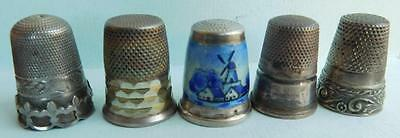 AUC4 5 Beautiful Antique European Silver & Enamel Thimbles 22.5 Grams.