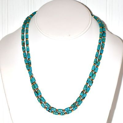 Fine Turquoise Estate Set Of Necklace & Bracelet Natural Very Long 32 Inch
