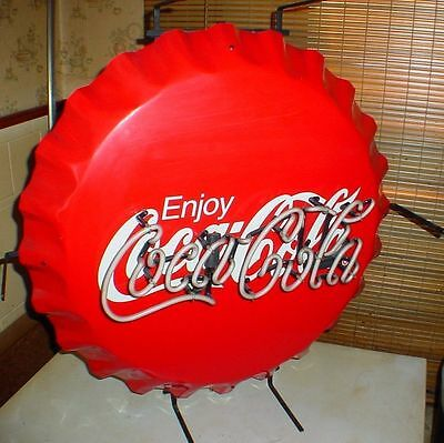 "CR095 Vtg Coca Cola Coke Commercial Grade 27"" Neon Bottle Cap Aluminum Sign"
