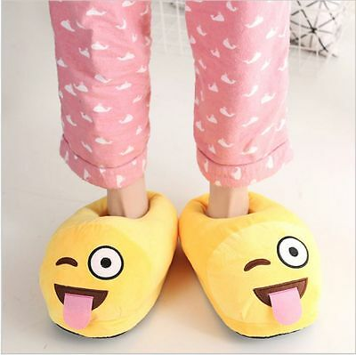 New Men Women Emoji Expression Slippers Winter Warm Home Indoor Adult Shoes