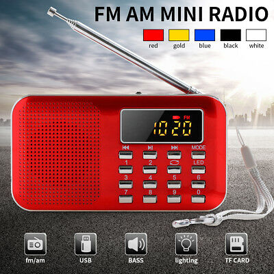 Digital FM AM Radio World Band Supper Bass Mini Speaker AUX USB TF W/ LED Light