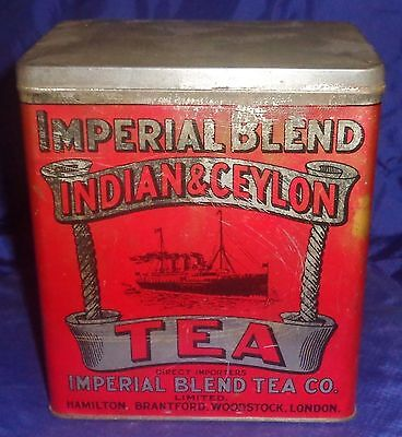 BM077 Vtg Imperial Blend Indian & Ceylon Tea Co. Tin w/ Hinge Lid