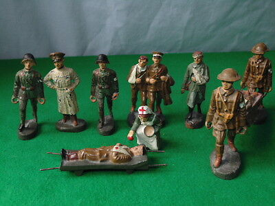 VINTAGE ELASTOLIN / LINEOL  BRITISH & GERMAN ARMY WOUNDED SOLDIERS ETC x10