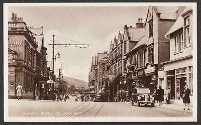 REAL PHOTO POSTCARD CONWAY ROAD COLWYN BAY SHOP FRONT CAERNARVONSHIRE WALES c'50