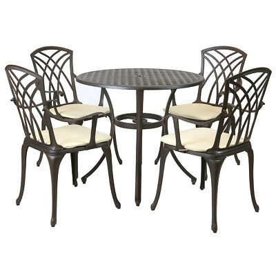 Metal Cast Aluminium 5 Piece Garden Furniture Patio Set With Cushions