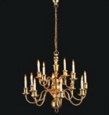 Dolls House Elite 12 Arm Brass Chandelier Candle Bulbs Miniature Electric Light
