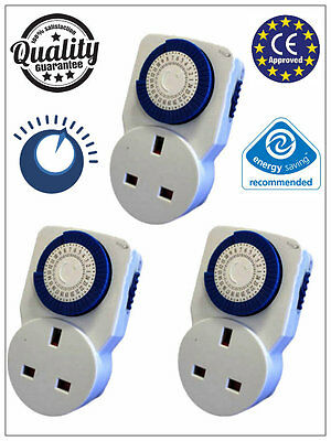 3Pc 3 Pin UK 24HR 24 Hour Timer Programmable Mains Socket Wall Plug-IN Switch UK
