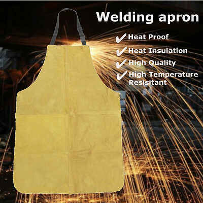 24'' X 39'' Welders Dual Leather Welding Cutting Bib Shop Apron Heat Resistant