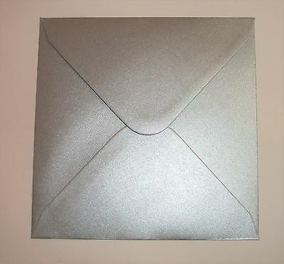 """6"""" x 6"""" Square Silver Pearlised Envelopes (155mm x 155mm)"""