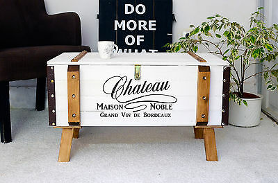 Wooden coffee table shabby chic trunk storage box side table rustic design