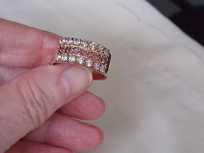 Heavy Mens Hallmarked 9Ct Gold 3 Row Stone Set Ring With Rubies 6.4 Grams Size T
