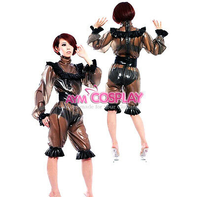 plastic Romper clear PVC jumpsuits lockable  outfit CD/TV Tailor-made[G2183]