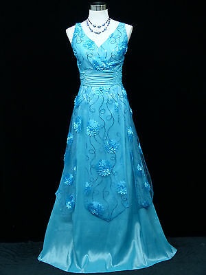 Cherlone Blue Ballgown Bridesmaid Formal Wedding/Evening Full Length Dress 16